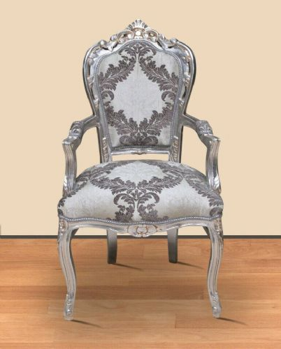 CHAIRS FRANCE BAROQUE STYLE DINING ROYAL CHAIR WITH ARMRESTS SILVE-SILVER #70F31